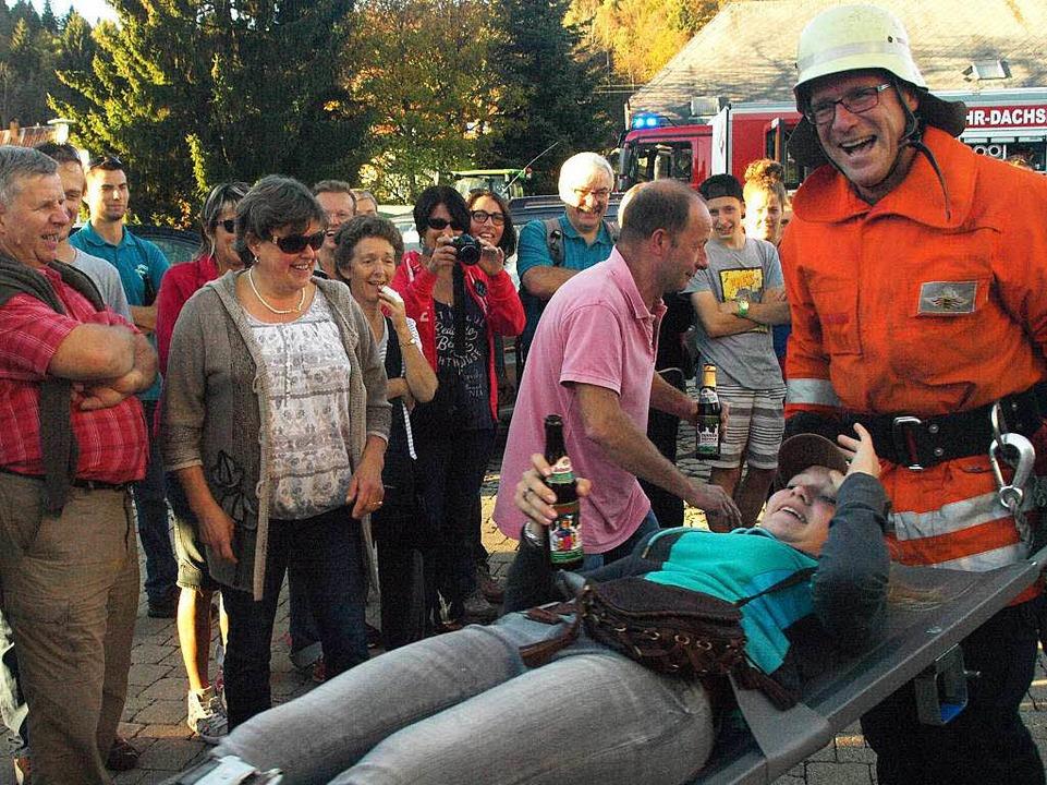 Viel Spaß hatten die Besucher aus St. ...stag bei der Schauübung der Feuerwehr.  | Foto: Karin Stöckl-Steinebrunner
