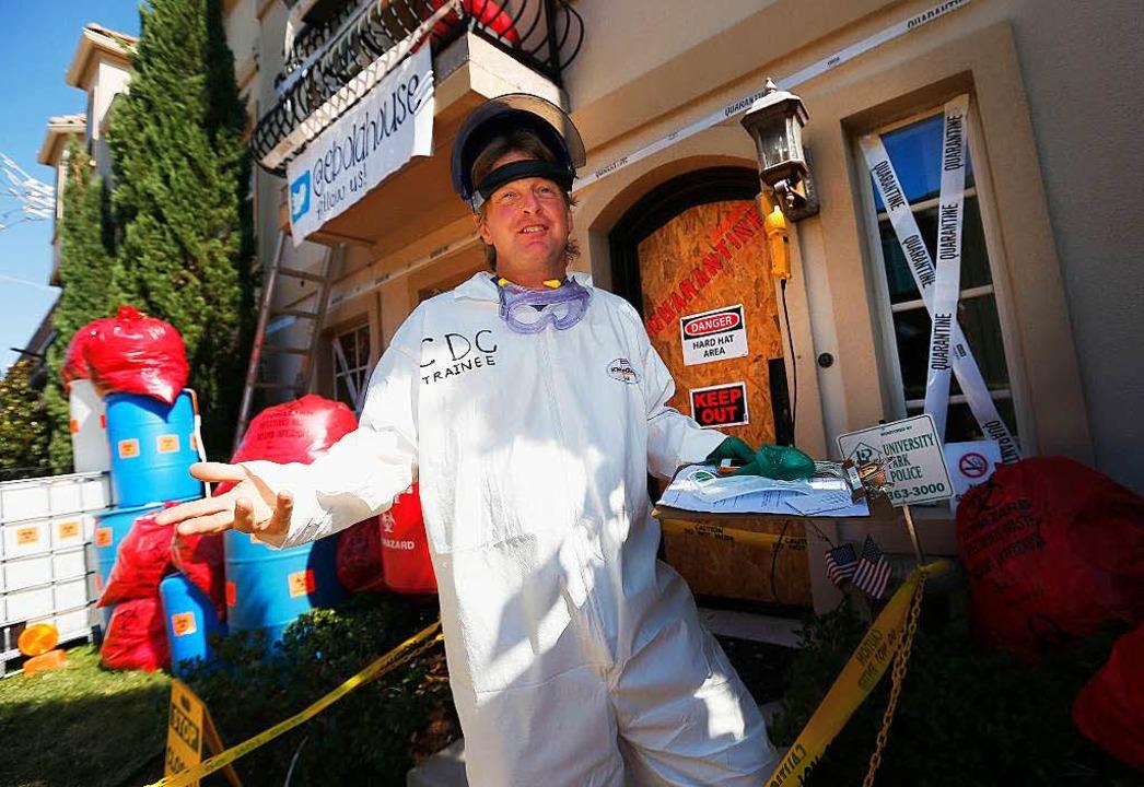 James Faulk in Dallas in seinem Ebola-Kostüm  | Foto: AFP