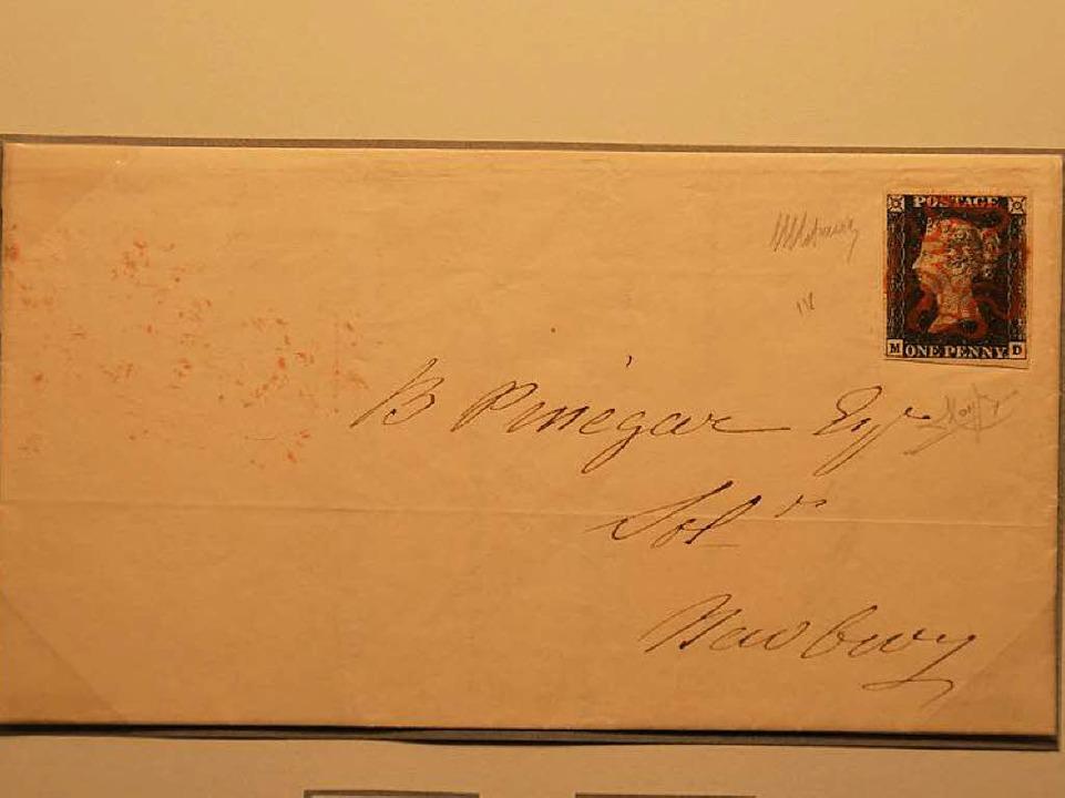 """Die erste Briefmarke der Welt, die """"Black Penny"""", aus dem Jahr 1840.    Foto: Dorothee Soboll"""