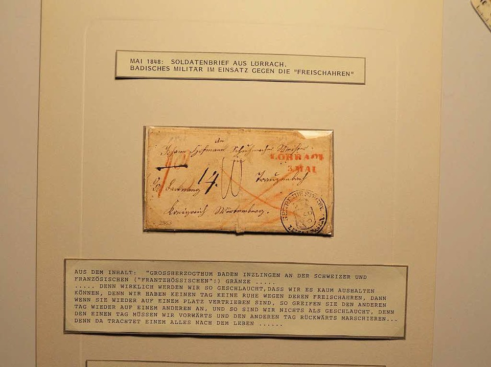 Die erste Marke aus Lörrach und Inzlingen von 1848.    Foto: Dorothee Soboll