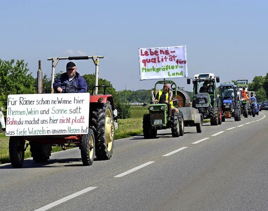 Auggen ruft zur weiteren Großdemo &#82...n Bau der Antragstrasse der Bahn auf.   | Foto: Sigrid Umiger