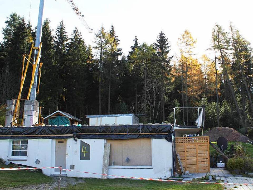 Der Wald hinter dem teilabgebrochenen Haus beginnt sich zu lichten.   | Foto: Gert Brichta