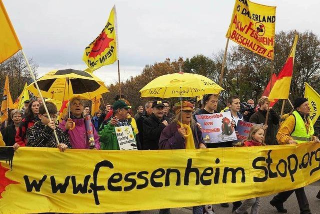 Protest auf der Rheinbrücke