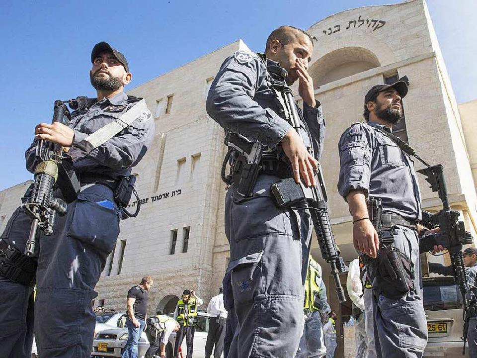Auf eine Synagoge in Jerusalem hat es einen Anschlag gegeben.  | Foto: AFP