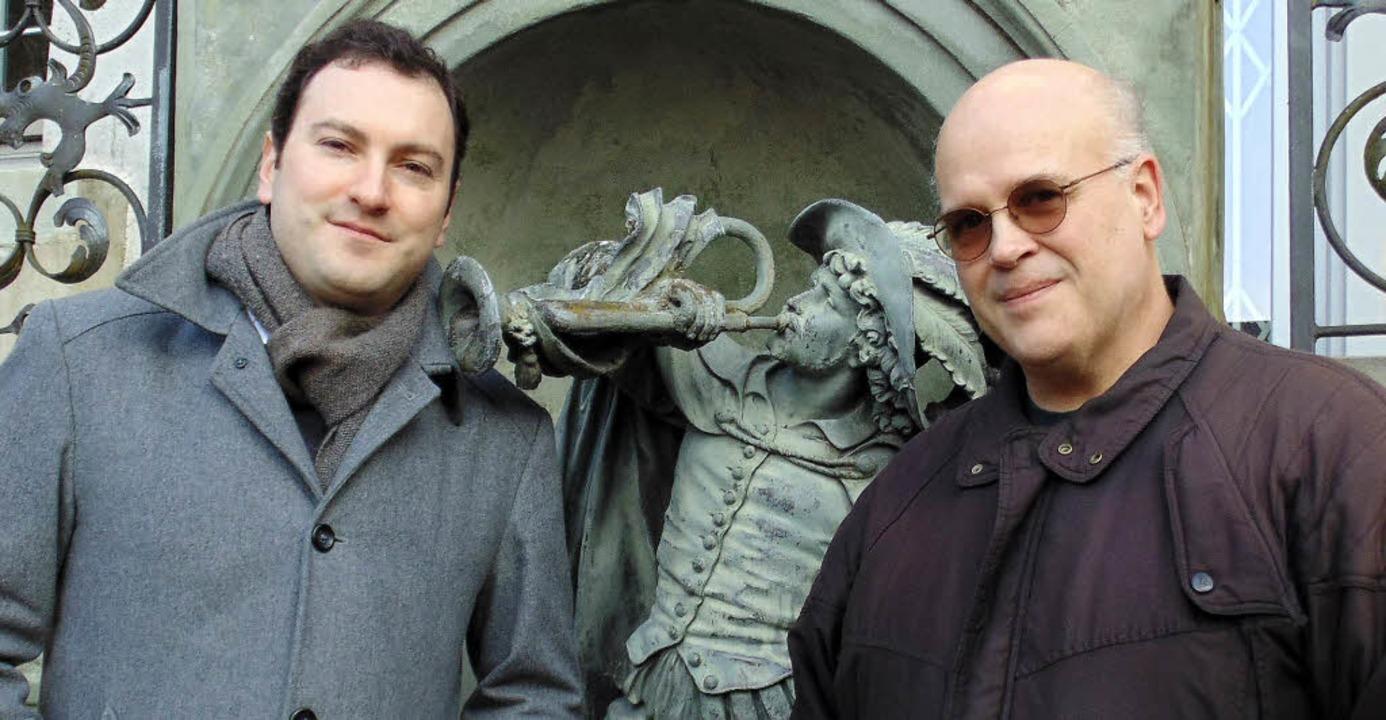 Bläser unter sich: Der Komponist und P... beim Trompeter von Säckingen vorbei.     Foto: Michael Gottstein