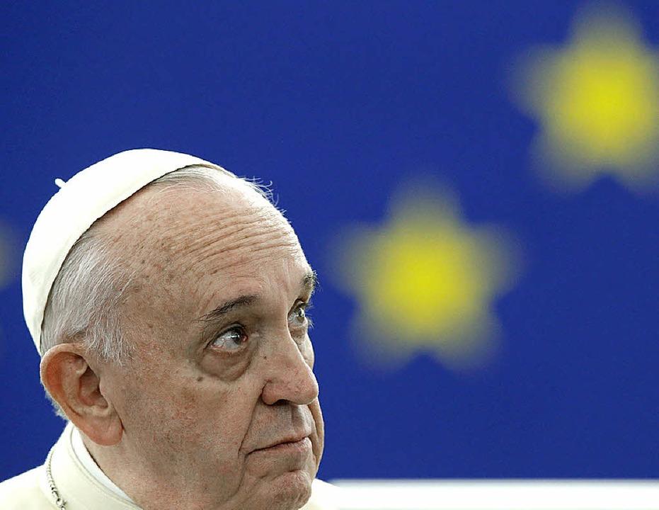Papst Franziskus in Straßburg   | Foto: afp