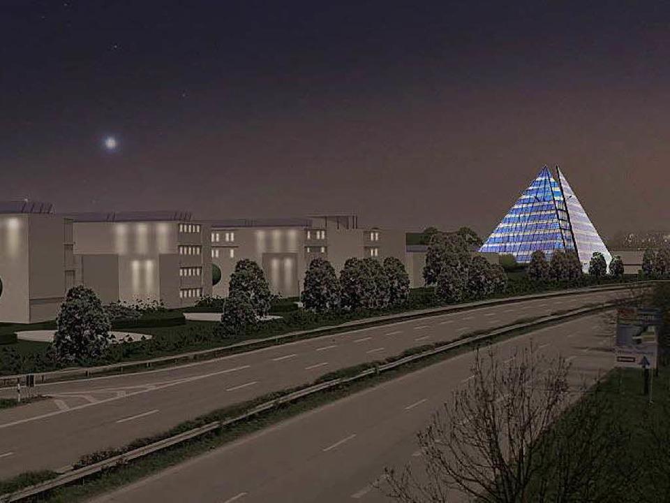Ein leuchtendes Beispiel soll der Sola...aeder im Gewerbegebiet Haid-Süd sein.   | Foto: Visualisierung: Rolf Disch SolarArchitektur / degners.com