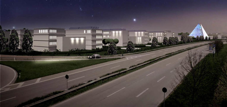 Ein leuchtendes Beispiel soll der Sola...raeder im Gewerbegebiet Haid-Süd sein.  | Foto: Visualisierung: Degners.com
