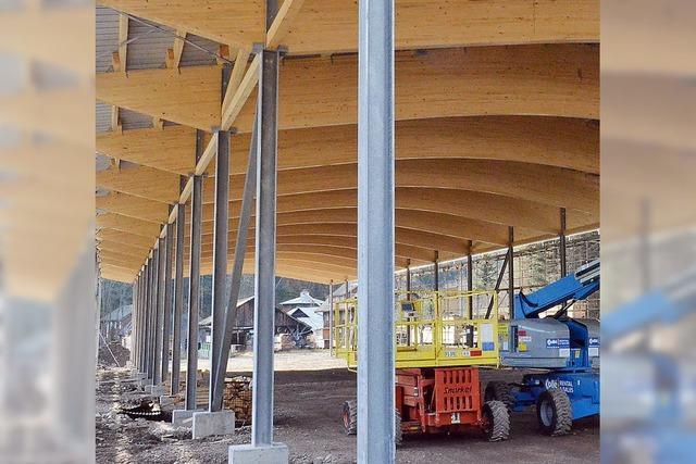 Die neue Holzlagerhalle steht