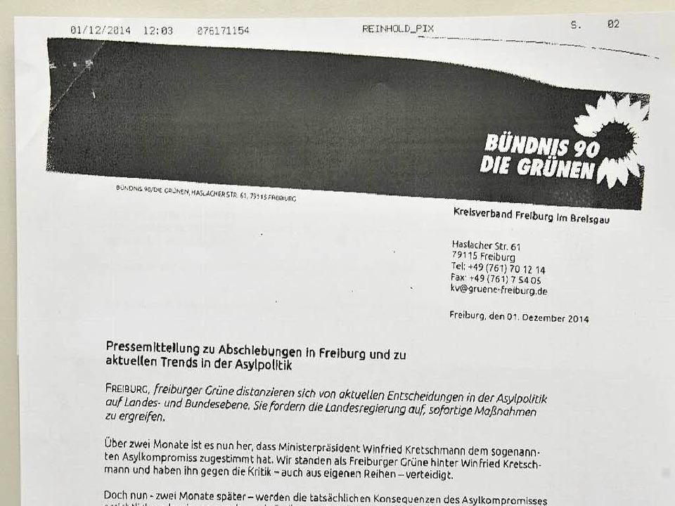 Dieses Fax verschickten die Demonstran... dem Büro des Kreisverband der Grünen.  | Foto: Michael Bamberger