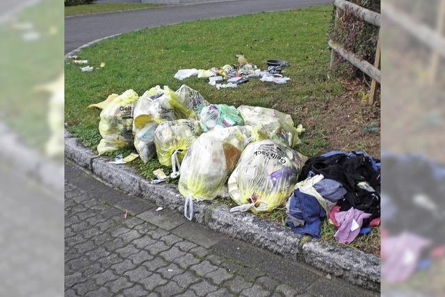 Die gelben Säcke werden mit Hausmüll befüllt