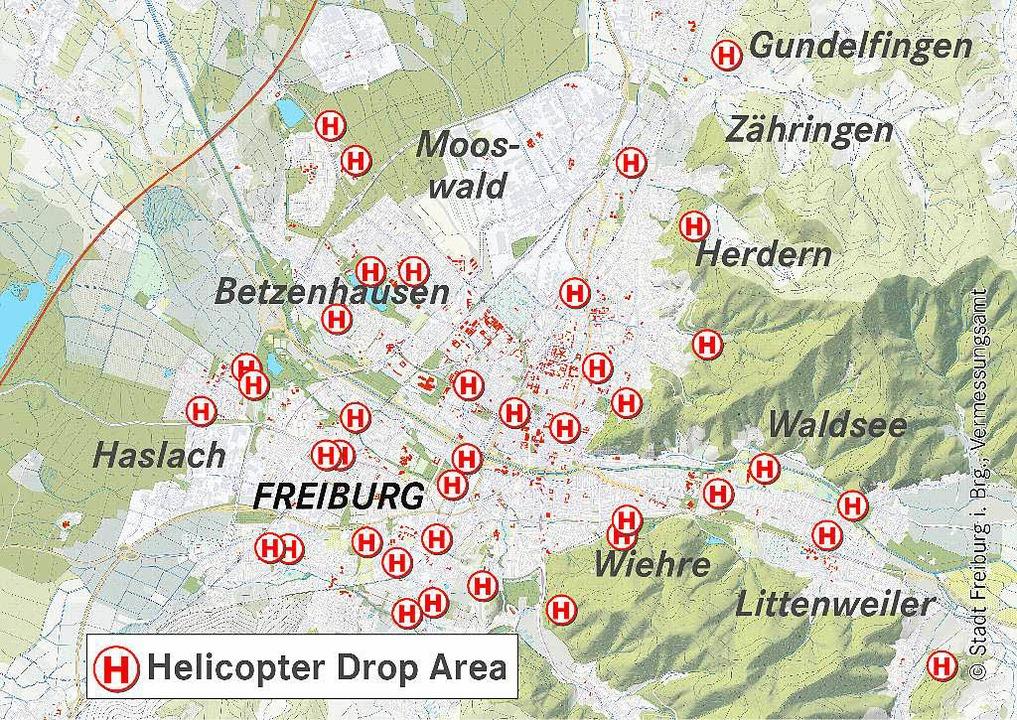 Rund 40 Stellen an denen der Rettungshelikopter Landen kann.  | Foto: bz