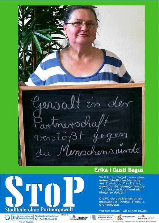 Eine Plakataktion im Hamburger Stadtte...hoop richtet sich gegen Partnergewalt.  | Foto: Rüffer