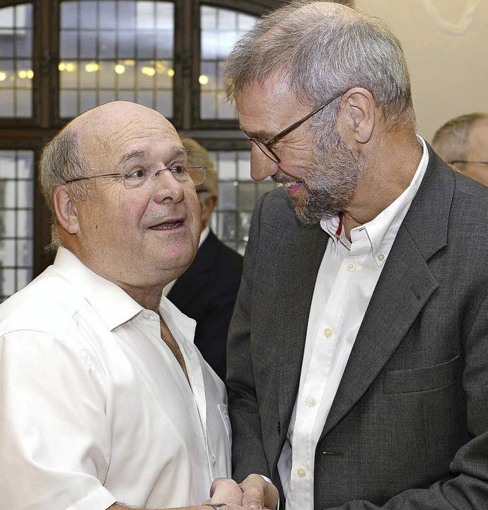 Bernhard Keller (links) und  sein Nachfolger Martin Leser gestern beim Empfang   | Foto: Ingo schneider