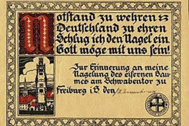 Freiburgs Bürger konnten im Ersten Weltkrieg zugunsten des Roten Kreuzes Nägel in eine Linde schlagen