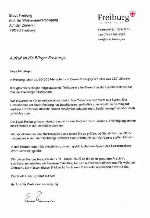 Am Samstag wurde dieser Brief an Haushalte in Herdern verteilt