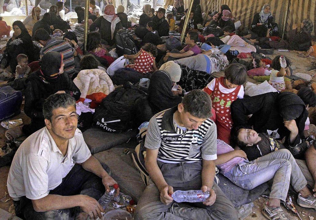 Ein syrisches Flüchtlingslager in Zaatari in Jordanien.   | Foto: dpa