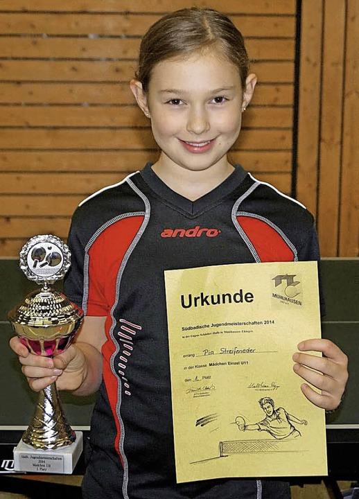 Pia Streifenender vom Tischtennisclub ... in ihrer Altersklasse (U11) erobert.   | Foto: Verein