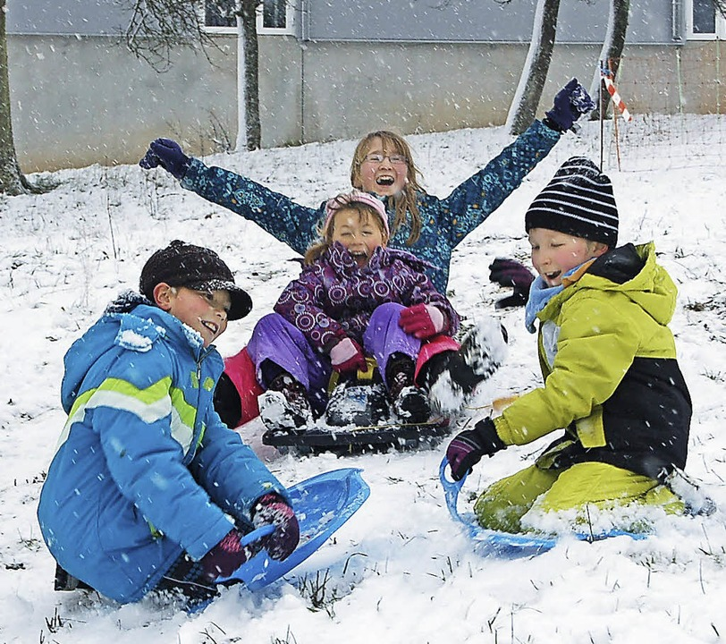 Hurra, in Adelhausen hat's Schnee.    Foto: Petra Wunderle
