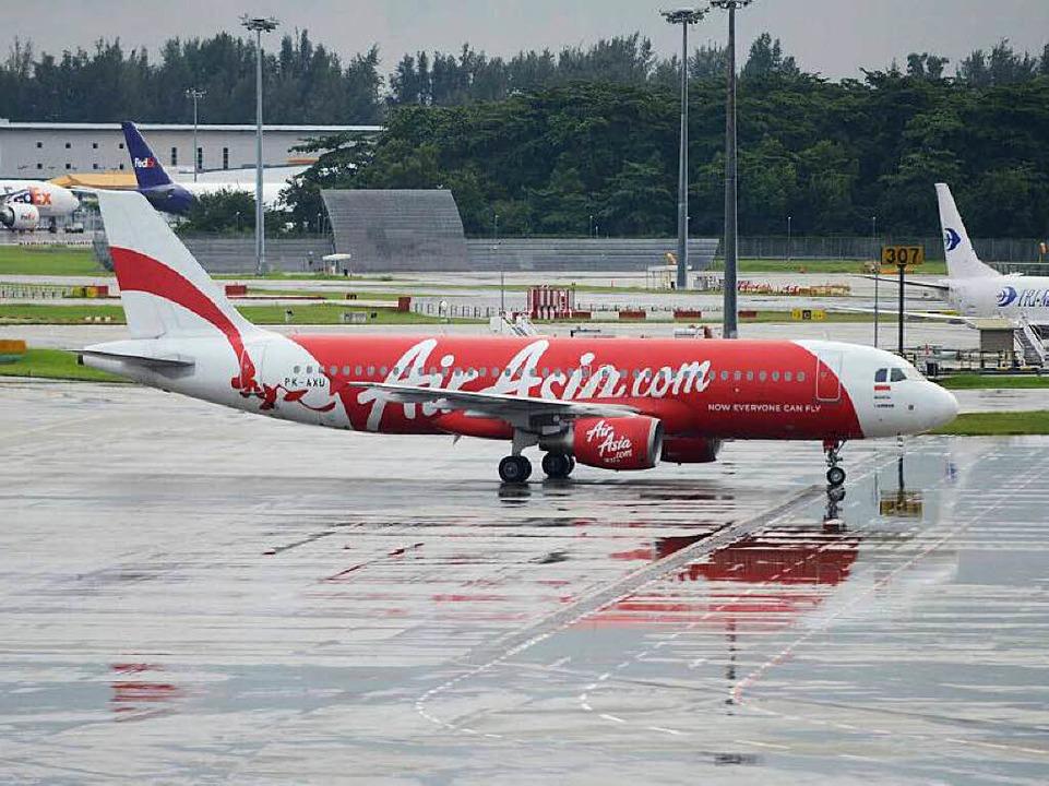 Archivbild: Diese Maschine der Air Asia wird vermisst.    Foto: AFP