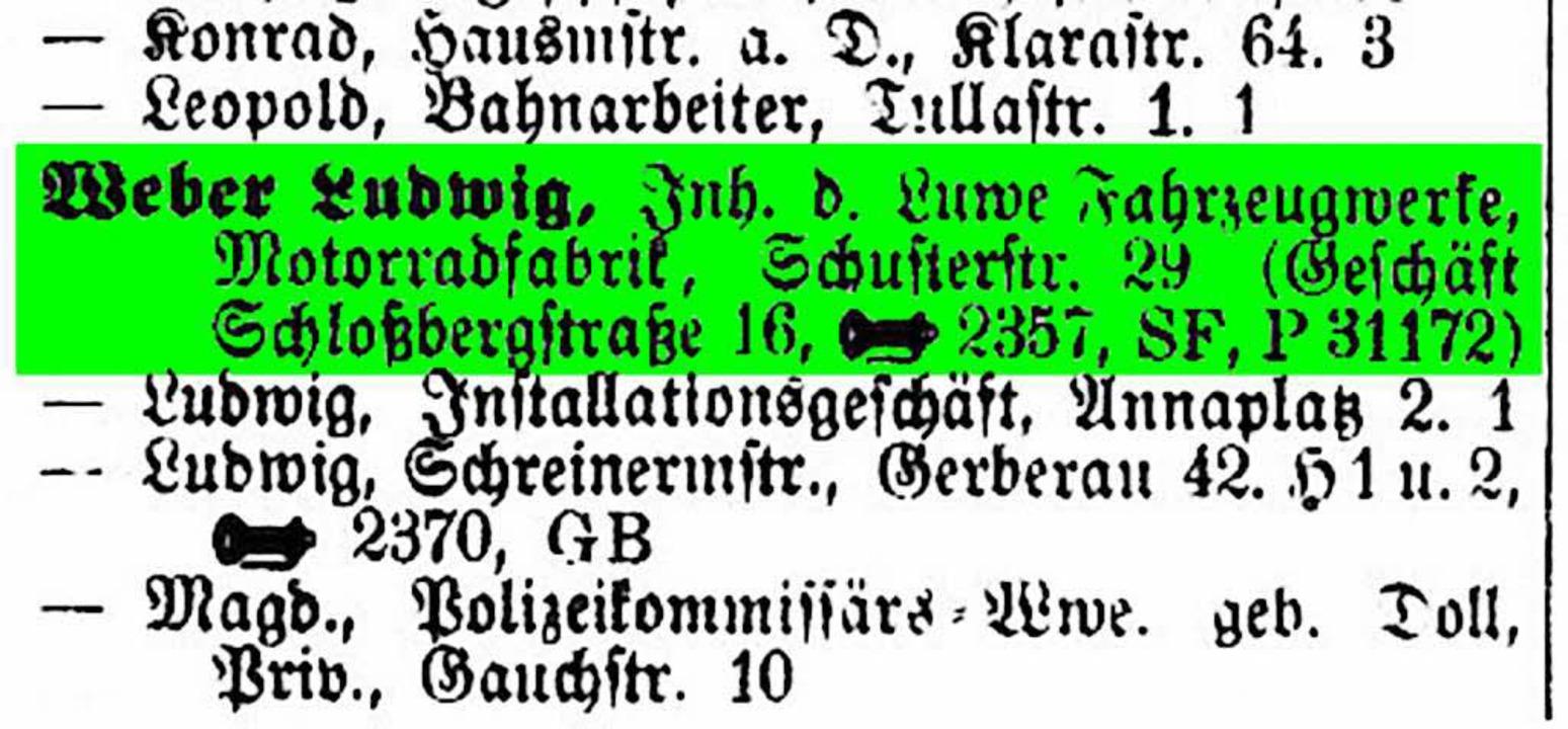 1925 befand sich der Luwe-Firmensitz i...heute steht dort die Schlossberggarage  | Foto: Repro: BZ
