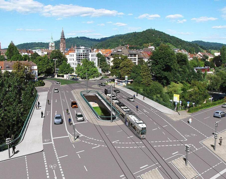 So soll die Kronenbrücke einmal aussehen.  | Foto: Visualisierung Stadtverwaltung Freiburg