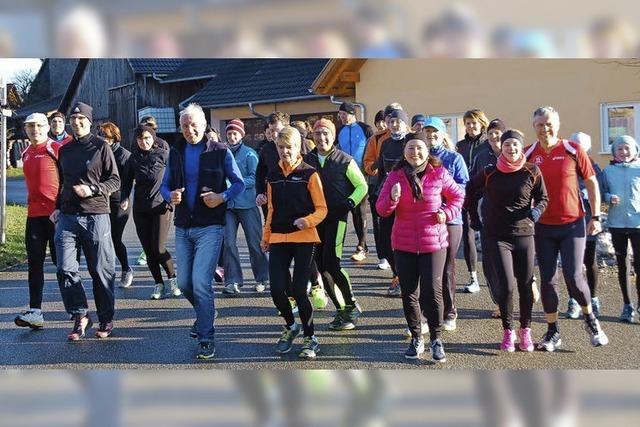 Läufer hüten sich vor dem Glatteis