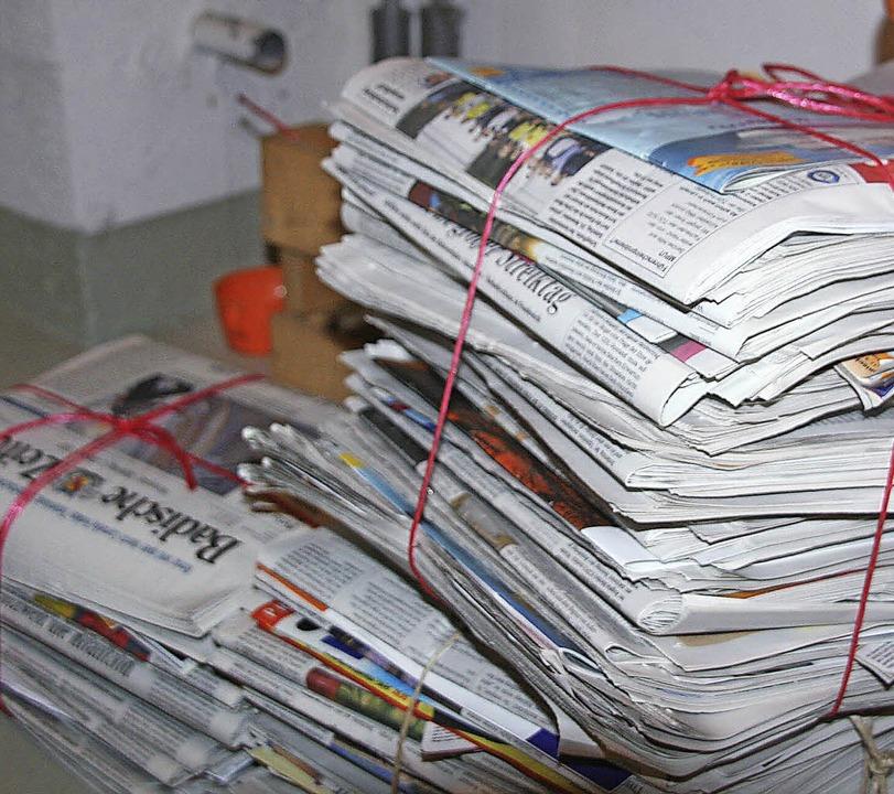 Zum Abholen bereit: Das Altpapier in Privathaushalten.    Foto: Marlies Jung-Knoblich