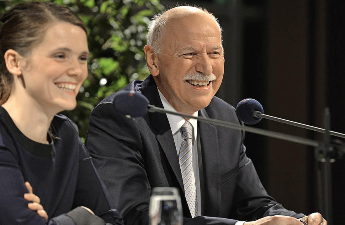 TV-Talk-Guru Wieland Backes mit  Moderatorin Eva Röder     Foto: rita eggstein