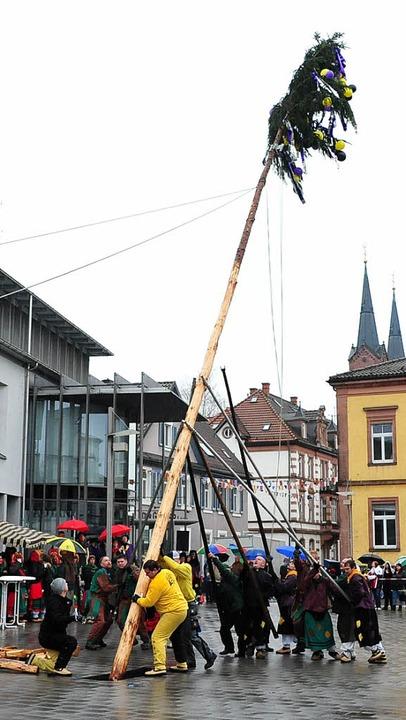 Am Samstag wurde der Narrenbaum gestellt.     Foto: A. Fleig