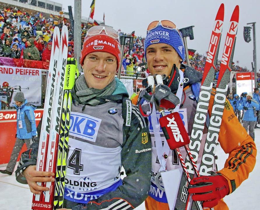 Benedikt Doll (links) mit seinem Teamk...m Skiinternat Furtwangen ausgebildet.   | Foto: Joachim Hahne
