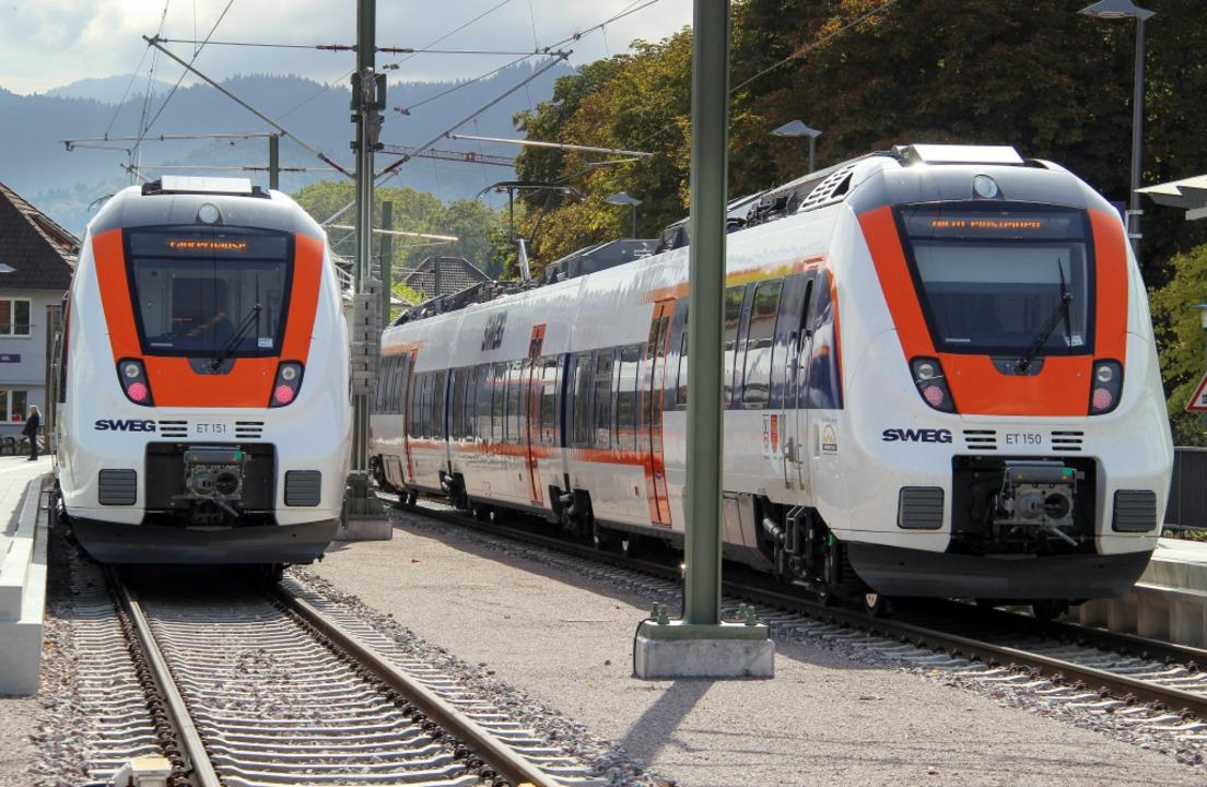 Talent-2-Züge der SWEG auf der bereits elektrifizierten  Münstertalbahn.   | Foto: Alexander huber