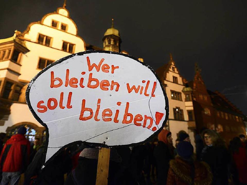 Bei einer Kundgebung in Freiburg hatte...n Neujahrsempfang der Grünen gestürmt.    Foto: Ingo Schneider