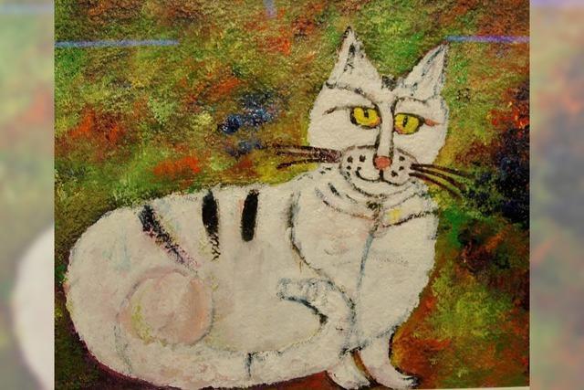 Gemalte Katzen in Schnur(r)-Technik