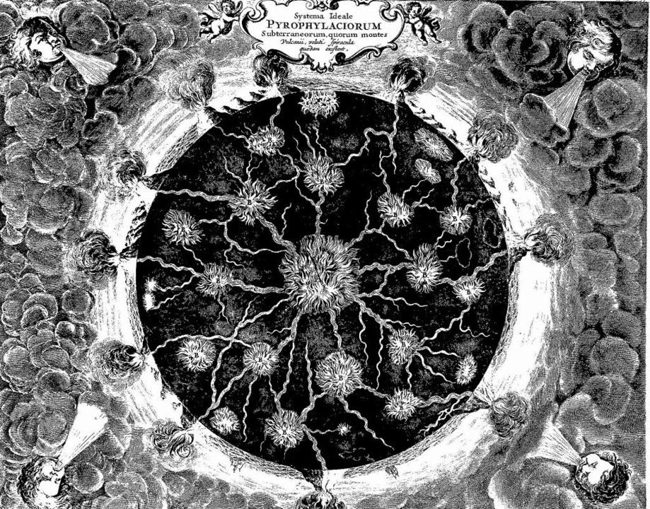 Das System der Feuer im Inneren der Er...gabe von 1678) von Athanasius Kircher   | Foto: BZ