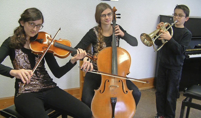 Außergewöhnliche Besetzung: Die Geschw...Trio mit Geige, Cello und Flügelhorn.   | Foto: R. Frey