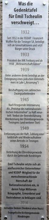 Exemplarisch benennt die Ergänzungstaf...en des Nationalsozialistischen Regimes  | Foto: Markus Zimmermann