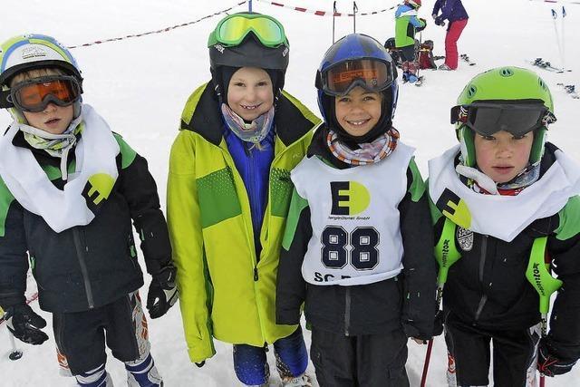 Schnelle kleine Skifahrer