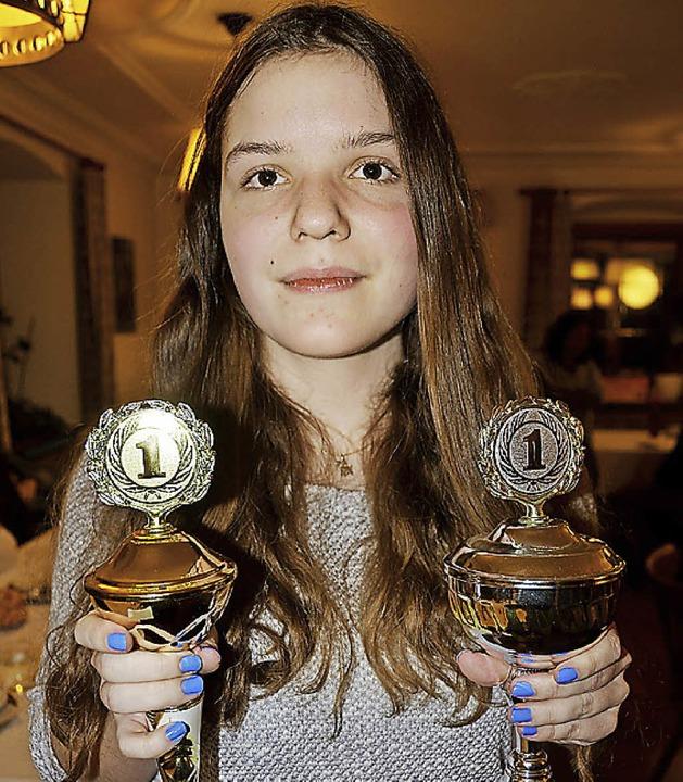 Jechtingen.  Hanna Höflin mit den Poka...Jugendlich in 2014 am meisten gwonnen.  | Foto: Roland Vitt