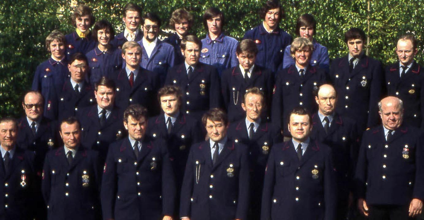 Die Feuerwehr Herrischried in den 80er...mmandanten Otto Böhler (vorne rechts)     Foto: zvg