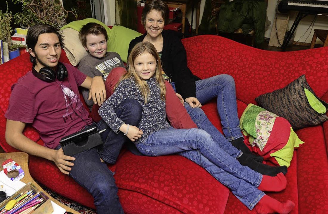 Neue Familiendynamik (von links): Aust...en, Jannek, Greta und Astrid Schaffert    Foto: Ingo Schneider
