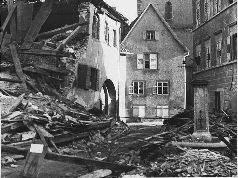 Ein Bild der Zerstörung: Staufen nach dem Angriff vom 8. Februar 1945.  | Foto: Veranstalter