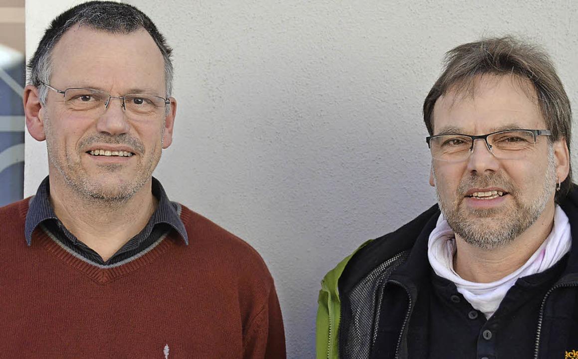 Georg Hoffmann (l.) und Kurt Mayer vom Bürgerwindrad Blauen   | Foto: Hub