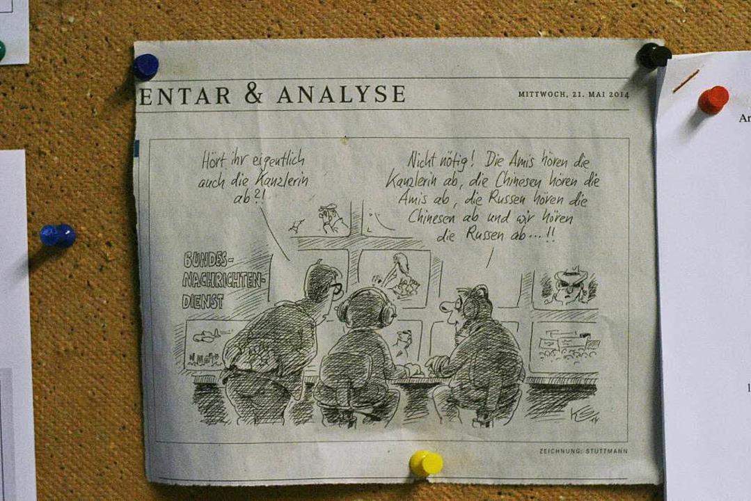Bürohumor: Diese BZ-Karikatur hängt im Flur  | Foto: Patrik Müller