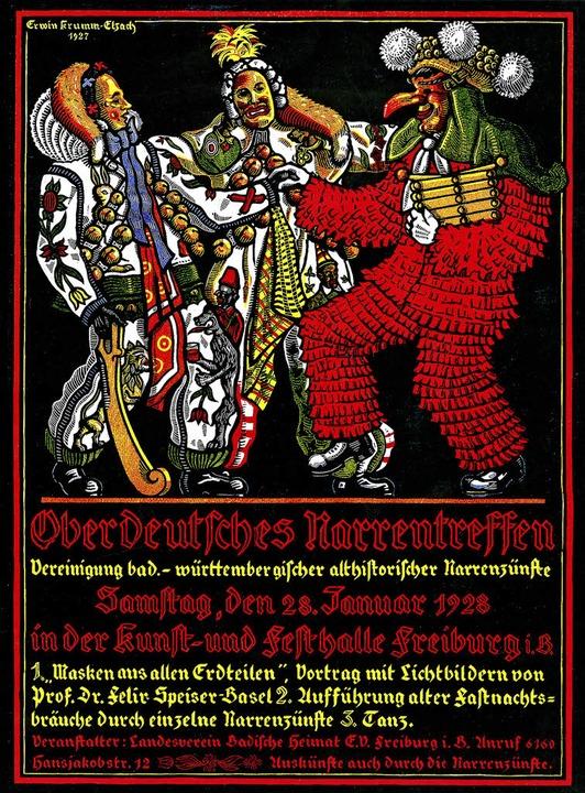 Das Plakat lädt zum Oberdeutschen Narrentreffen in Freiburg 1928.  | Foto: Archiv der VSAN