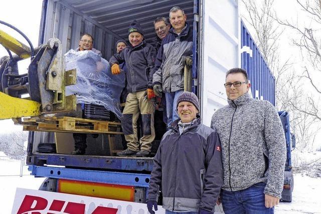 Ein Container voller Hilfsgüter
