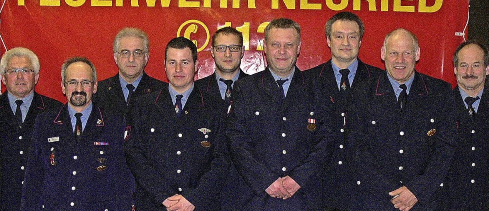 Bis zu 70 Jahre in der Feuerwehr Alten...n Brehm, Rolf Reuter und Thomas Meier     Foto: dieter fink