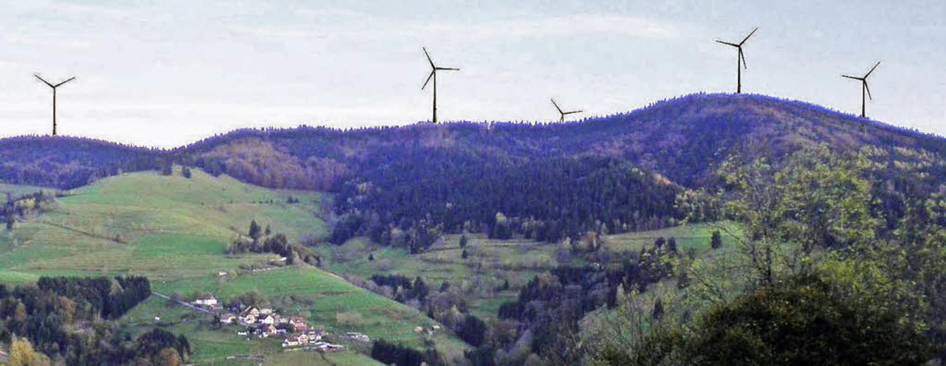 Rohrenkopf-Vision: Der gemeinsame Auss...il-Flächennutzungsplan für Windkraft.   | Foto: Fotomontage EWS