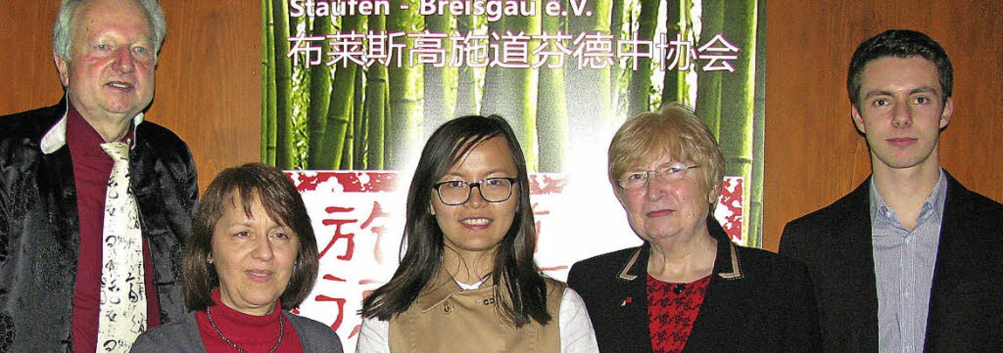 Der Vorstand der Deutsch-Chinesischen ...Wang, Marlise Kasper und Hannes Walzer  | Foto: Manfred Lange