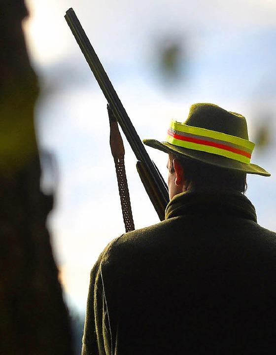 Auf der Pirsch: Jäger mit Waffe im Wald.    Foto: DPA